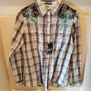 New Rock 47 Wrangler Bling Pearl Snap Shirt